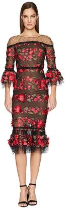 Marchesa 3/4 Length Bell Sleeve Fringe Floral Embroidered Cocktail with Point D'Esprit Ruffle Hem Women's Dress