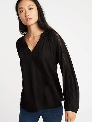 Old Navy Relaxed Tassel-Tie Lace-Trim Top for Women
