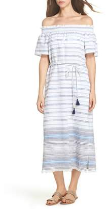 Tommy Bahama Stripe Linen & Cotton Off the Shoulder Cover-Up Dress