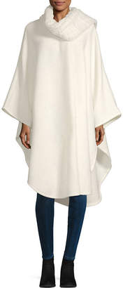 Liz Claiborne Faux Fur Self Tie Ruana Cold Weather Wrap