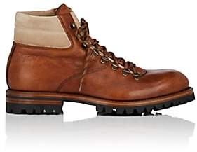 Antonio Maurizi MEN'S SUEDE-TRIMMED LEATHER HIKING BOOTS-LT. BROWN SIZE 10 M