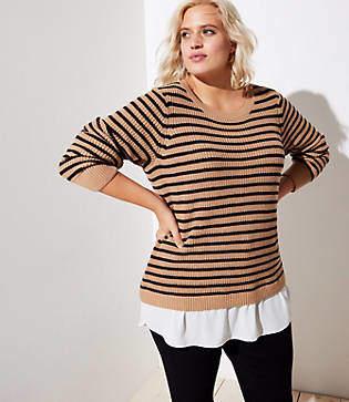 LOFT Plus Striped Split Back Mixed Media Sweater