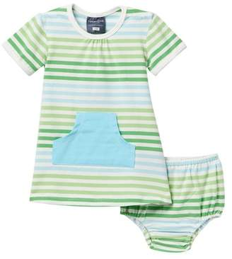 Toobydoo Green Meadow Striped Pocket Dress (Baby, Toddler, & Little Girls)