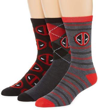 Marvel 3 Pair Deadpool Crew Socks-Mens