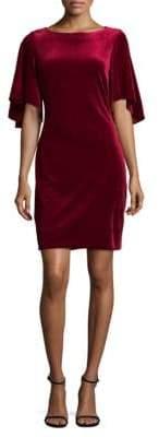 Flutter Sleeve Velvet Mini Dress