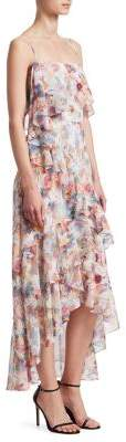 ML Monique Lhuillier Floral Chiffon High-Low Dress