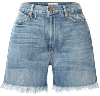 The Great The Easy Cut Off Frayed Denim Shorts - Mid denim