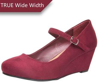 Luoika Wide Width Mary Jane Wedge Shoes for Women w/Ankle Buckle Strap, Plus Size Heel Pump w/Round Closed Toe Rubber Sole Memory Foam Insole, Black, Red, (180108 ,Size 12.5)