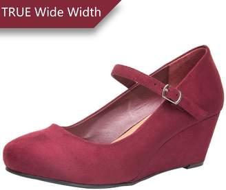 Luoika Wide Width Mary Jane Wedge Shoes Women w/Ankle Buckle Strap, Plus Size Heel Pump w/Round Closed Toe Rubber Sole Memory Foam Insole