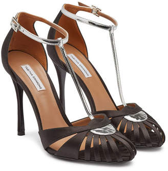 Tabitha Simmons Satin and Patent Leather High Heel Chelsea Sandals