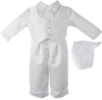 Little Angels Boys Diamond Embroidered Vest with Satin Pant Set and Coordinated Hat