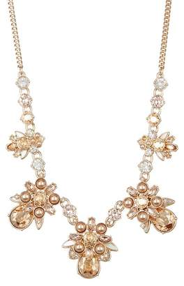 Givenchy Faux Pearl Crystal Cluster Frontal Necklace