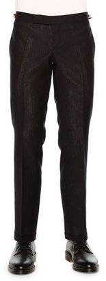 Thom Browne Faded-Stripe Slim Wool Trousers, Navy $1,050 thestylecure.com