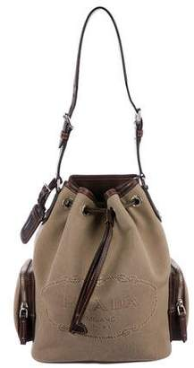 Prada Leather-Trimmed Canvas Bucket Bag