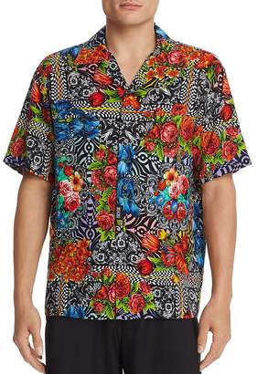 Versace Short-Sleeve Floral Optic-Print Regular Fit Shirt