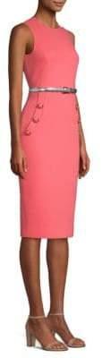 Michael Kors Stretch-Wool Button-Detail Sheath Dress