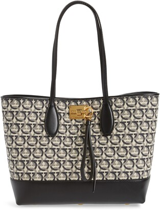 Salvatore Ferragamo The Studio Piccolo Jacquard Canvas & Leather Tote