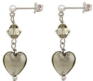 Glass Heart Amanti Venezia Murano and Crystal Stud Drop Earrings