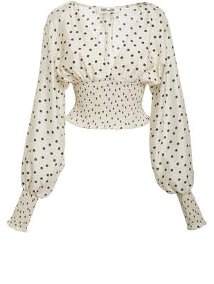 Diane von Furstenberg Long Sleeve Smocked Blouse