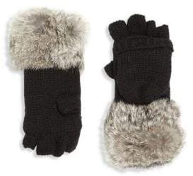 Surell Kid's Rabbit Fur-Trim Convertible Mittens