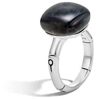 John Hardy Batu Bamboo Silver Ring with Labradorite