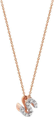 The Alkemistry Kismet by Milka S initial 14ct rose gold and diamond necklace