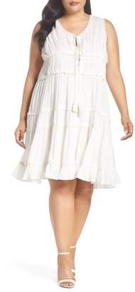 Glamorous Crochet Trim Tiered Minidress (Plus Size)