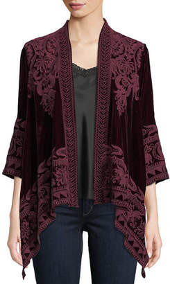 Johnny Was Hirsch Embroidered Velvet Draped Cardigan, Plus Size