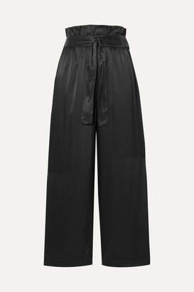 3.1 Phillip Lim Belted Cropped Satin Wide-leg Pants - Black