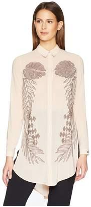 Versace Sheer Button Up Tunic Women's Blouse