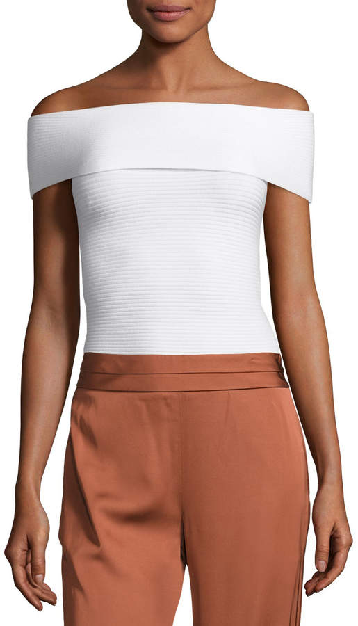 Elizabeth and James Dominique Off-the-Shoulder Ribbed Top