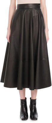 Loewe High-Waist Flared Lambskin Leather Midi Skirt