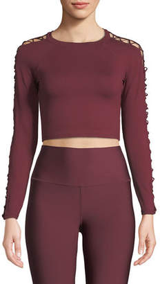 Alo Yoga Highline Fitted Crop Top w/ Lace-Up Sleeves