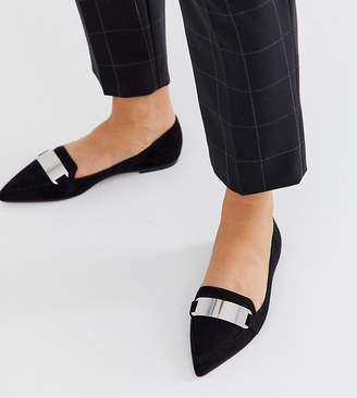 Asos Design DESIGN Leonie pointed loafer ballet flats in black