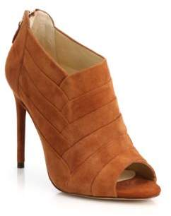 Petals Suede Peep-Toe Ankle Booties $695 thestylecure.com