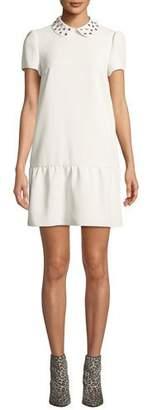 RED Valentino Studded-Collar Short-Sleeve Drop-Waist Dress