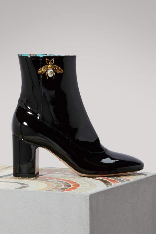 Gucci Patent leather ankle boots with bee