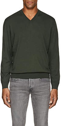 Cifonelli Men's Wool V-Neck Sweater - Green