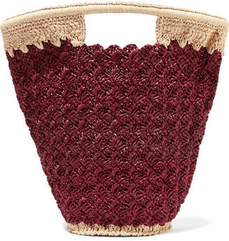Carrie Forbes Lily Woven Faux Raffia Bucket Bag - Burgundy