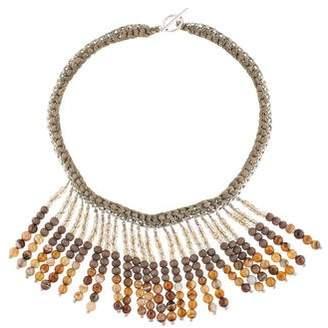 Brunello Cucinelli Agate & Wood Fringe Collar Necklace
