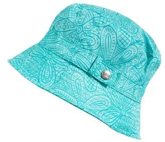 totes Women's Bucket Rain Hat with Band and Embossed Snap, Bucket Style, Blu Floral Burst