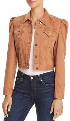 Blank NYC BLANKNYC Puff-Sleeve Distressed Cropped Denim Jacket