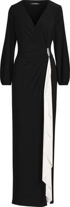 Ralph Lauren Brooch Jersey Gown