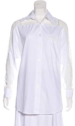 Anna Sui Lace-Trimmed Long Sleeve Button-Up
