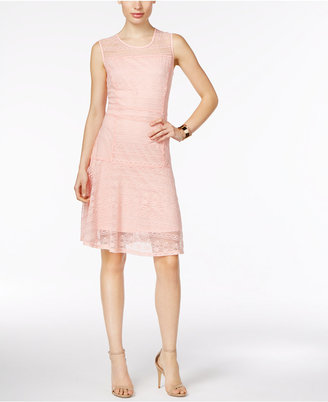 NY Collection Mixed-Lace Illusion Fit & Flare Dress $70 thestylecure.com