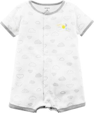 "Carter's Baby Bright Little One"" Cloud Pattern Snap-Up Romper"