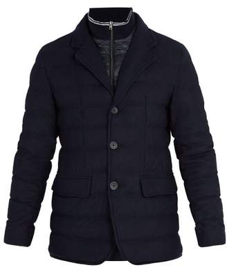 Herno Wool Blend Quilted Jacket - Mens - Navy
