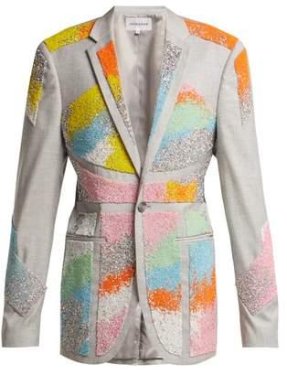 Germanier - Bead Embellished Twill Blazer - Womens - Multi