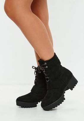 Missguided Black Faux Suede Hiking Flat Strap Ankle Boots
