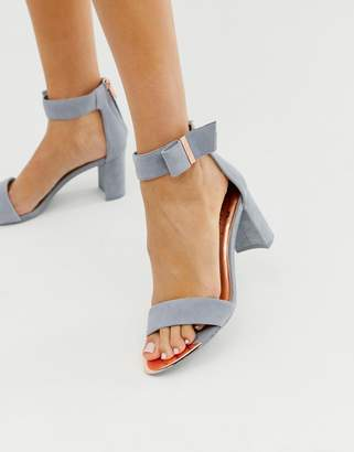 Ted Baker gray suede barely there block heeled sandals